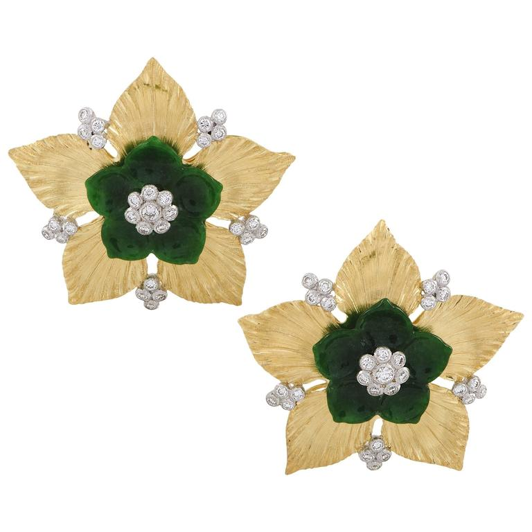 Buccellati Diamond and Jade Yellow and White Gold Flower Earrings