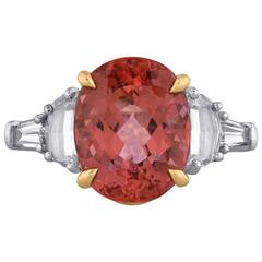 Pinkish-Orange Topaz and Diamond Ring by Tiffany & Co.