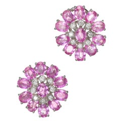 GIA Certified 11.33 Carat Pink Sapphire Diamond White Gold Cluster Earrings