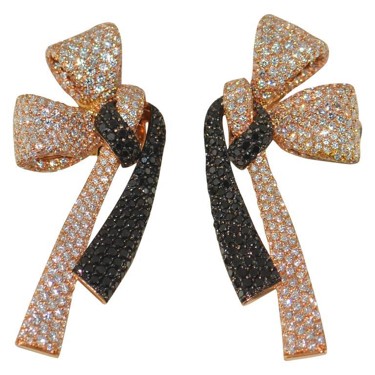 Palmiero Diamond 18 Karat Gold Bow Earrings