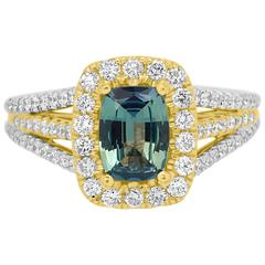 GIA Certified 1.01 Carat Alexandrite Cushion Diamond Two Color Gold Ring
