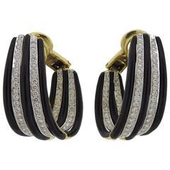 1980s Emis Gold Enamel Diamond Hoop Earrings