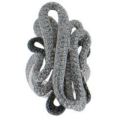 Palmiero White and Black Diamond 18 Karat White Gold Ring