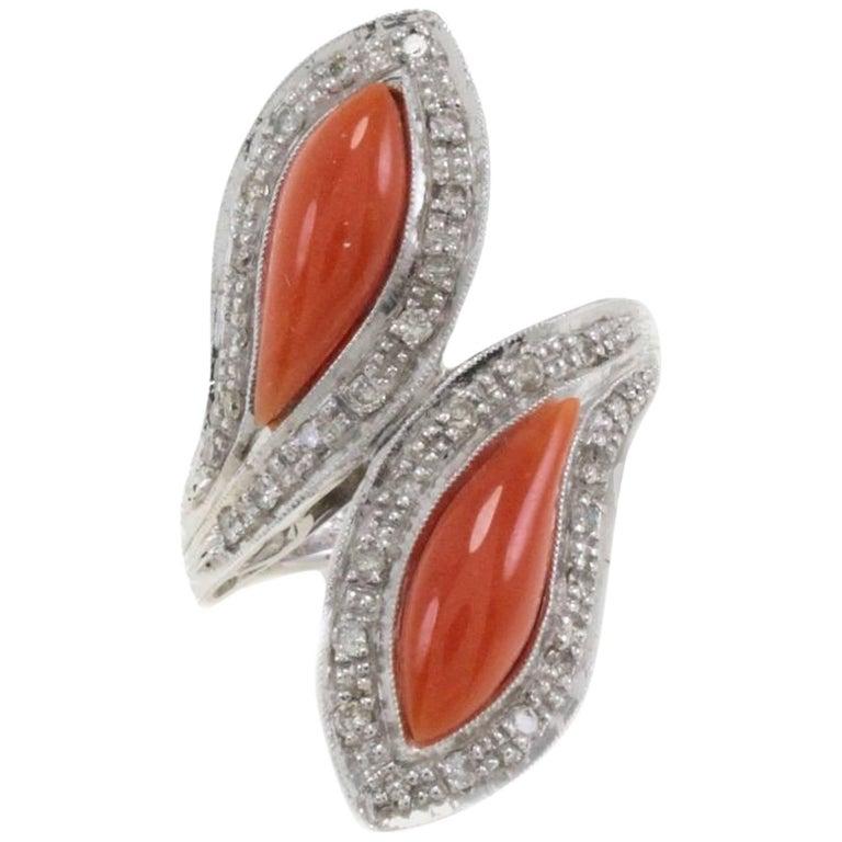 White Diamonds Coral Fashion Gold Ring For Sale
