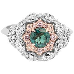 GIA Certified 0.78 Carat Alexandrite Diamond Two Color Gold Double Halo Ring