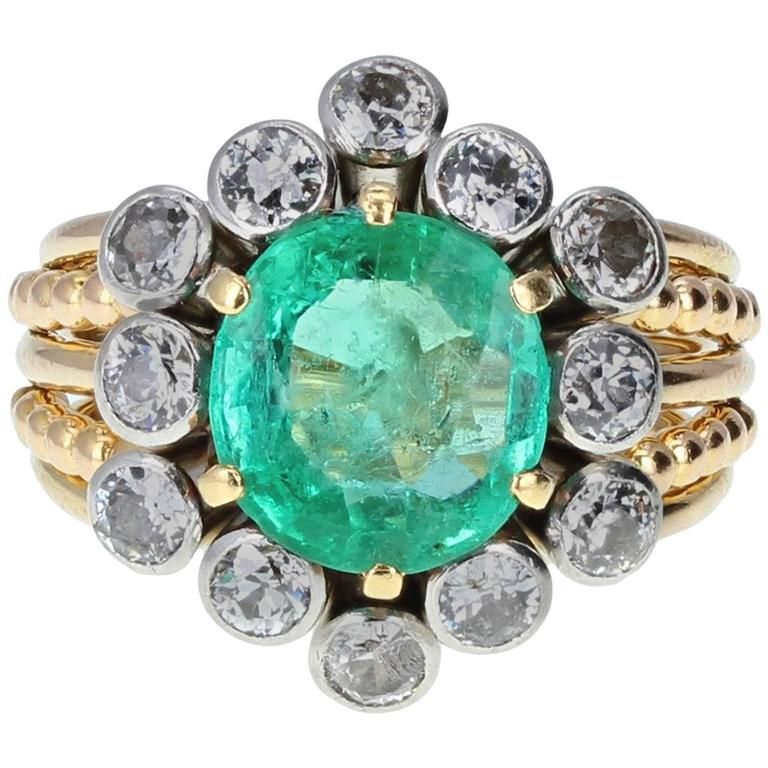 Vintage Boucheron Emerald Diamond Cluster Cocktail Ring