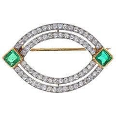 Early Antique Cartier Emerald Diamond Brooch