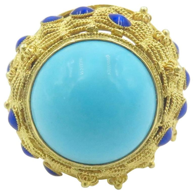 Turquoise, Lapis Lazuli and Gold Dome Ring