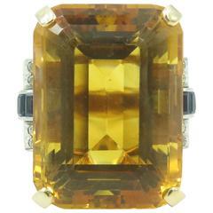 Citrine, Sapphire and Diamond Ring