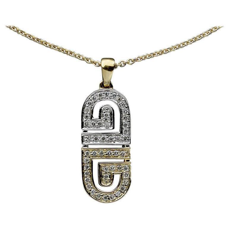 Yellow and white gold diamond greek key design pendant necklace at yellow and white gold diamond greek key design pendant necklace for sale aloadofball Choice Image