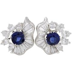 Diamond and Blue Sapphire Platinum Clip-On Earrings