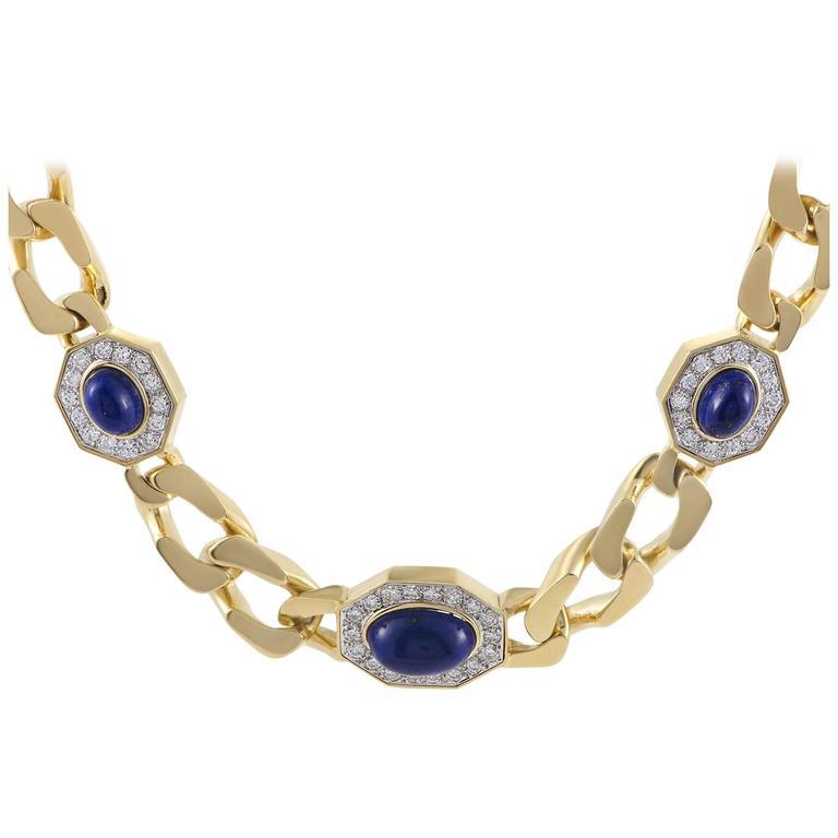Diamond and Lapis Lazuli Yellow and White Gold Choker Necklace 1
