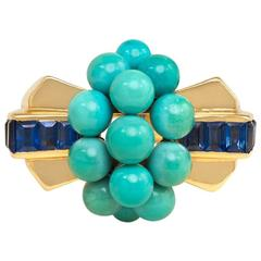 Retro Mauboussin Gold, Turquoise and Sapphire Ring