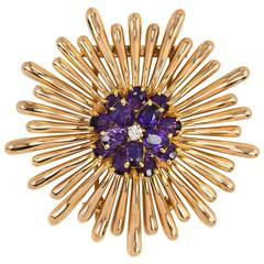 Retro Tiffany & Co Gold, Amethyst and Diamond Brooch