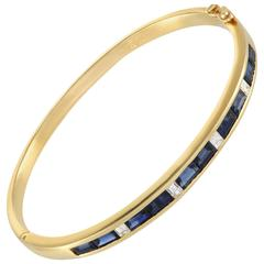 Diamond and Sapphire Yellow Gold Bangle Bracelet
