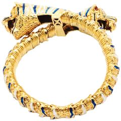 Ferrucci  Enameled 18k Gold Double Tiger Bracelet