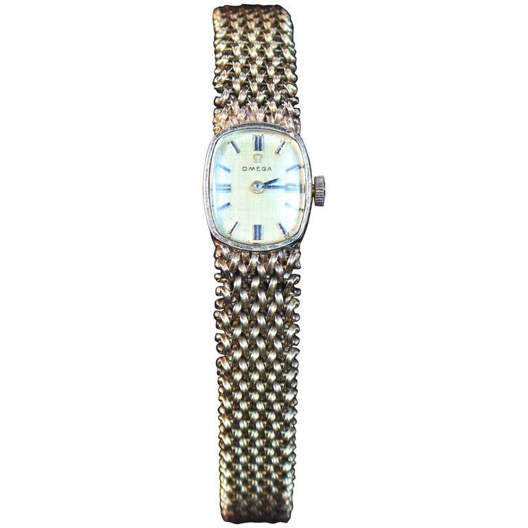 Omega Lady's Yellow Gold Woven Wristwatch