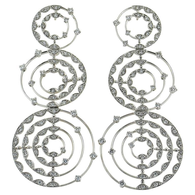 Palmiero Diamond 18 Karat White Gold Drop Earrings