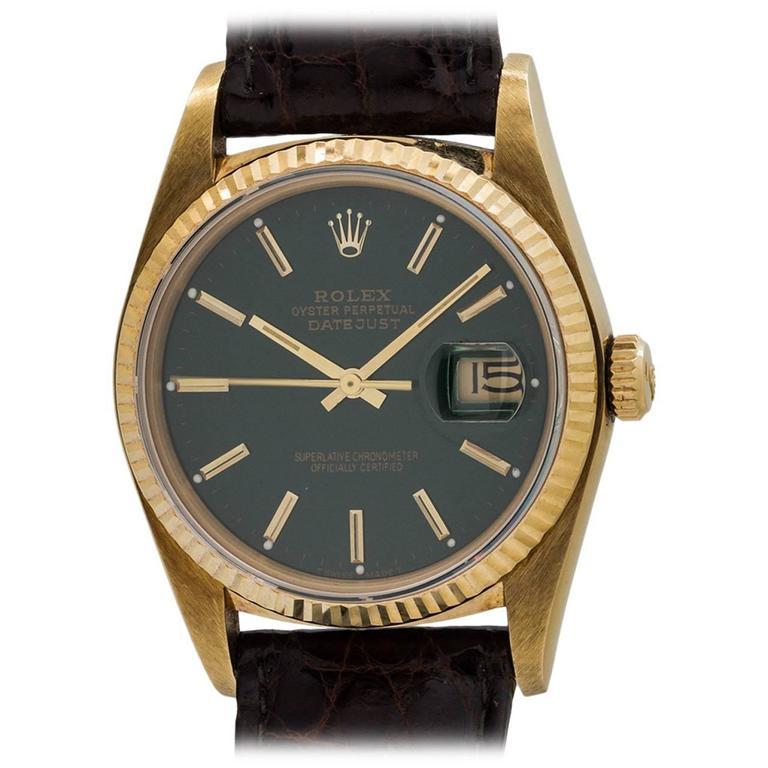 Rolex Yellow Gold Datejust Forest Green Dial Self Winding Wristwatch circa 1984 1