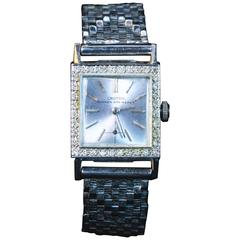 Croton Nivada Grenchen Ladies White Gold Pave Diamond Wristwatch