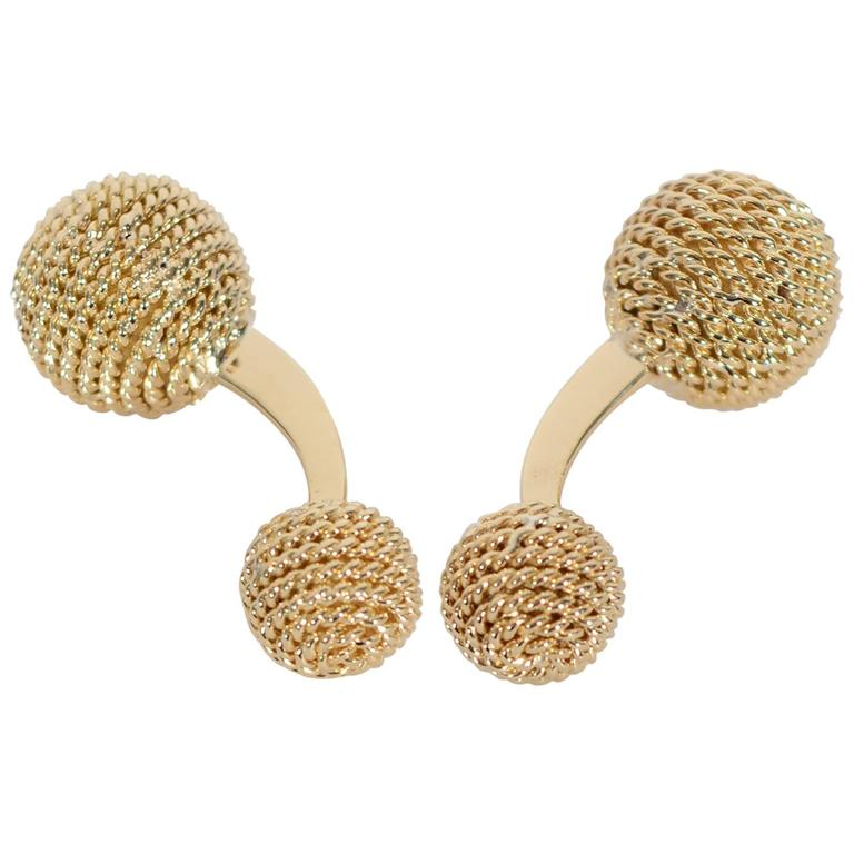 Gold Rope Twist Barbell Cuff-Links