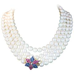 Pearl Gold Multi Strand Necklace with Ruby Diamond and Sapphire Clasp