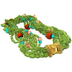 Multi-Strand Peridot, Coral, Citrine, Turquoise Necklace, 18 Karat Gold, Diamond