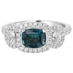 GIA Certified 0.90 Carat Alexandrite Cushion Three stone Diamond Halo Gold Ring