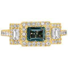 Alexandrite Diamond Halo Gold Ring