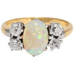 Antique Edwardian Offset Opal Diamond Ring