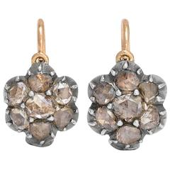 Antique Georgian Rose Cut Diamond Flower Cluster Earrings