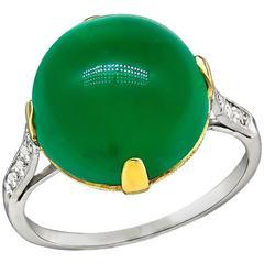 Antique 8.60 Carat Cabochon Emerald Diamond Platinum Ring