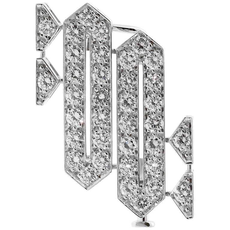 Cartier Platinum Diamond Brooch Necklace For Sale