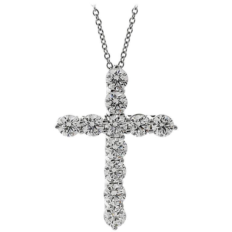 Tiffany & Co. Platinum Diamond Cross Necklace For Sale