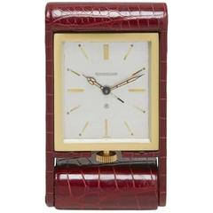 Jaeger-LeCoultre Gold Plated Alligator Ados Travel Clock