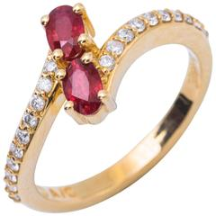 Ever-Us Two Rubies Diamond Yellow Gold Solitaire Crossover Engagement Ring