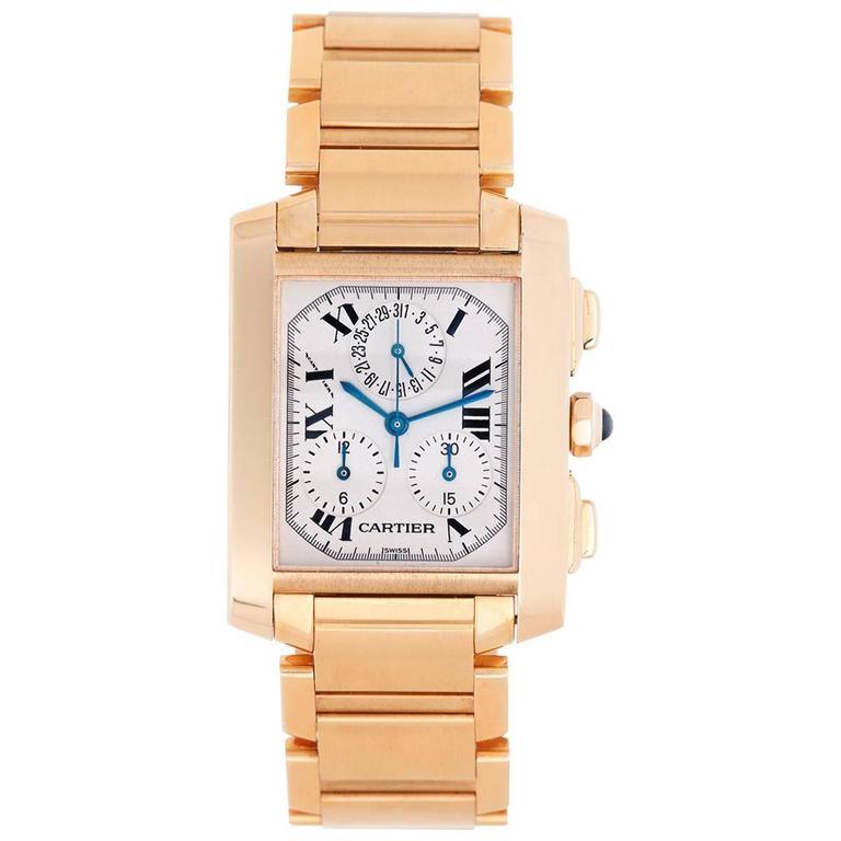 b561685c00b3 Cartier Yellow Gold Tank Francaise Chronograph Quartz Wristwatch Ref  W5000556 For Sale at 1stdibs