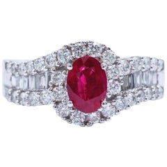 Oval Shaped Ruby 1.88 Carats Diamonds White Gold Engagement Cocktail Ring