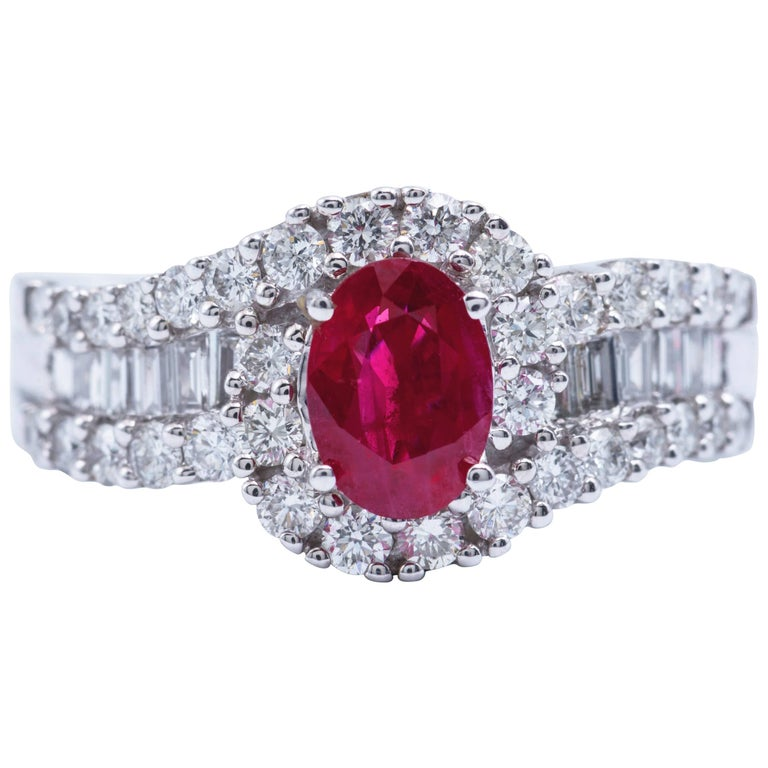 Oval Shaped Ruby 1.88 Carats Diamonds White Gold Engagement Cocktail Ring  For Sale
