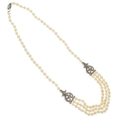 Cultured Freshwater Pearl Diamond Multi Strand Gold Necklace