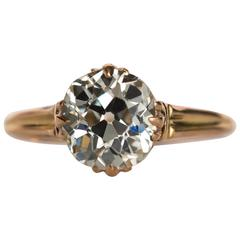 1890s Edwardian Yellow Gold GIA Certified 1.81 Carat Diamond Engagement Ring