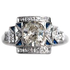 1930s Art Deco White Gold GIA Certified .88 Carat Diamond Engagement Ring