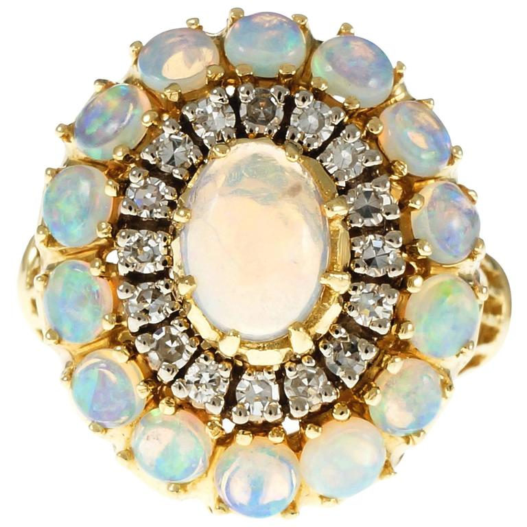 Opal Diamond Dome Yellow Gold Cocktail Ring