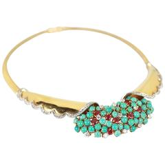 Diamond Ruby Turquoise Yellow Gold Statement Necklace