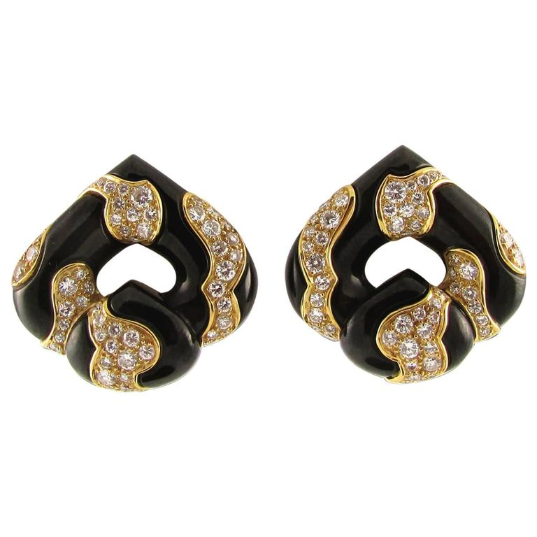 Diamond and Enamel Earrings by Marina B