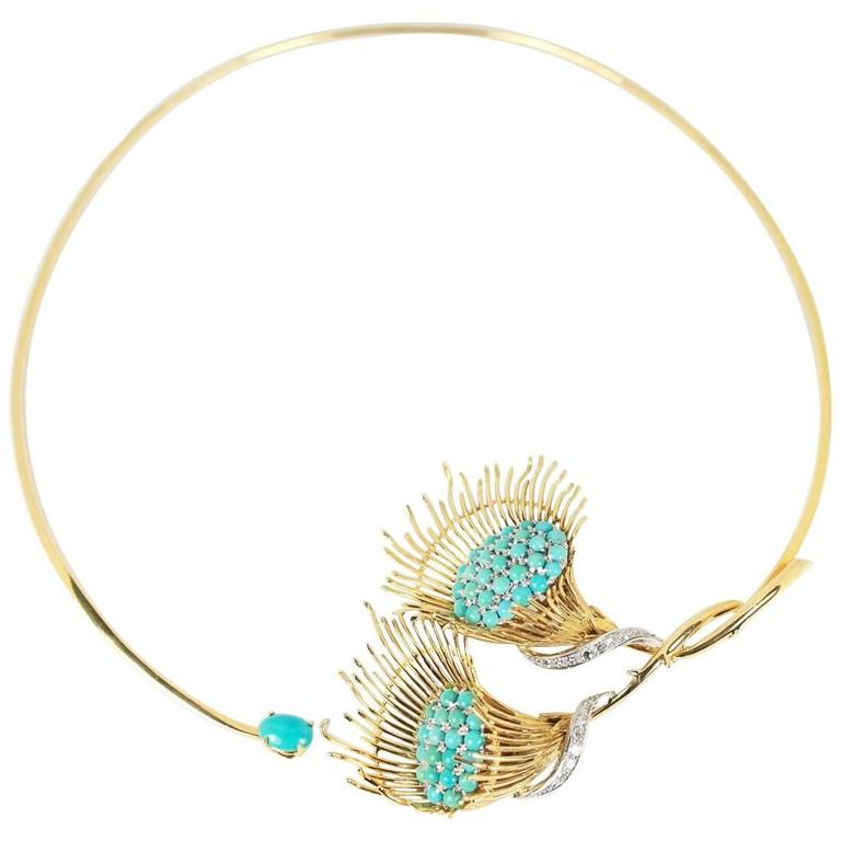 Turquoise and Diamond Statement Choker Necklace
