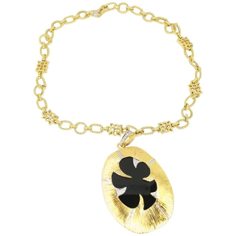 Onyx and Diamond Statement Pendant Necklace
