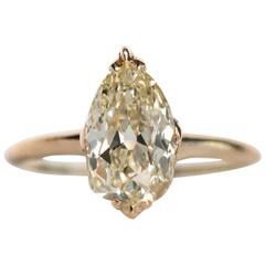 1890s Victorian Yellow Gold GIA Certified 2.13 Carat Diamond Engagement Ring