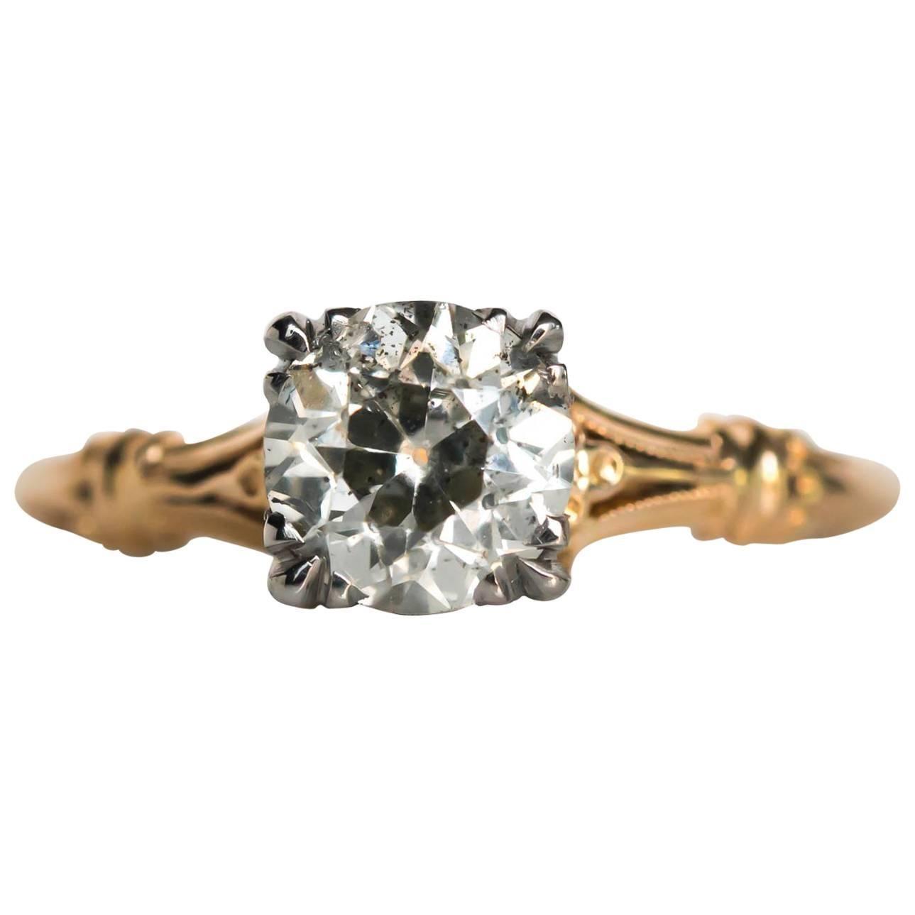 1910s Edwardian Yellow Gold GIA Certified .99 Carat Diamond Engagement Ring