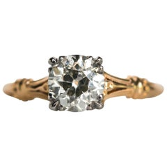 1910s Edwardian Yellow Gold GIA Certified .99 Carat Diamond Engagement Ring